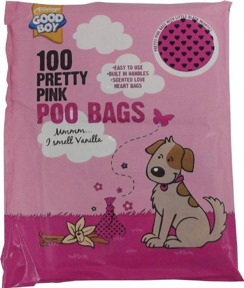 GOOD BOY PINK LOVE HEART POO BAGS X 100 VANILLA SCENTED WITH HANDLES